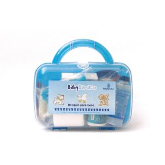 Botiquín Primeros Auxilios para bebé Baby Damaco maletín de plástico rígido color azul.