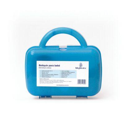 Reverso botiquín Primeros Auxilios para bebé Baby Damaco maletín de plástico rígido color azul.
