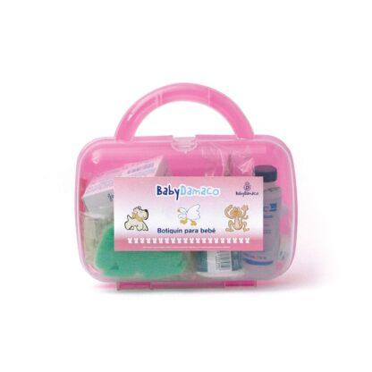 Botiquín Primeros Auxilios para bebé Baby Damaco maletín de plástico rígido color rosa