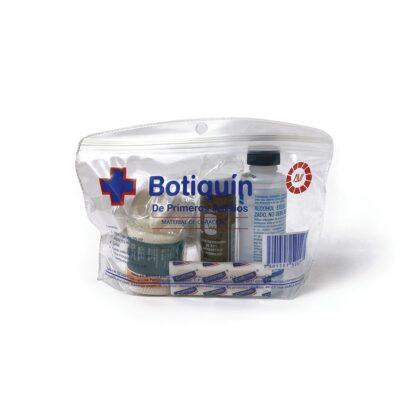 Bolsa transparente de vinil con material de curación: agua oxigenada, alcohol, 4 curitas, 4 gasas estériles, 1 tela microporosa, venda elástica
