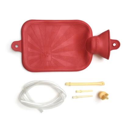 Bolsa lisa de hule natural para agua caliente Damaco color rojo, tubo irrigador, cánulas rectales y vaginales y tapón
