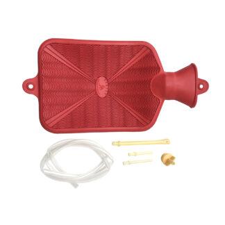 Bolsa de hule natural para agua caliente dos calores Damaco color rojo, tubo irrigador, cánulas rectales y vaginales y tapón