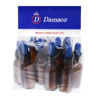 Frasco de vidrio ámbar y gotero con bulbo de hule 20 ml. Bolsa con 10 piezas