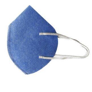 Cubrebocas MX95 forma tipo concha color azul plumbago con resorte elástico aislado sobre fondo blanco