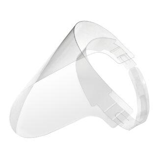Careta protectora de PET transparente sobre fondo blanco