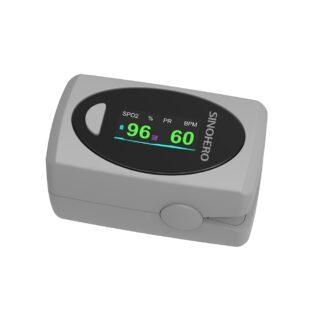 Oxímetro de pulso para dedo Sino-Hero S9 mostrando valores de saturación de oxigeno en sangre y frecuencia cardiaca