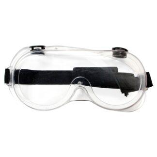 Goggles transparentes con cinta elástica de sujeción color negro vista frontal
