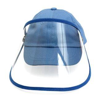 Gorra color azul azul con visera y careta transparente PET vista frontal sobre fondo blanco