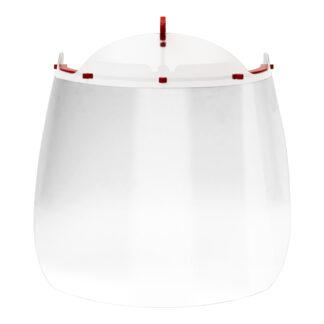 Vista frontal de careta protectora transparente con clip rojo para colocarse en la visera de una gorra