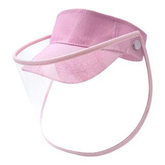 Visera color rosa con careta transparente de PET Vista lateral derecha sobre fondo blanco