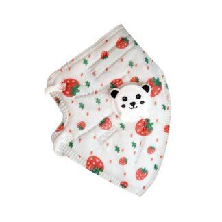 Cubrebocas KN95 color blanco y estampado de patrón de fresas con válvula en forma de cara de oso aislado sobre fondo blanco