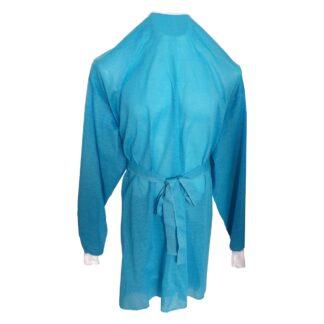 Bata de poliéster color azul con puños blancos y cintas de amarre para personal médico sobre fondo blanco.